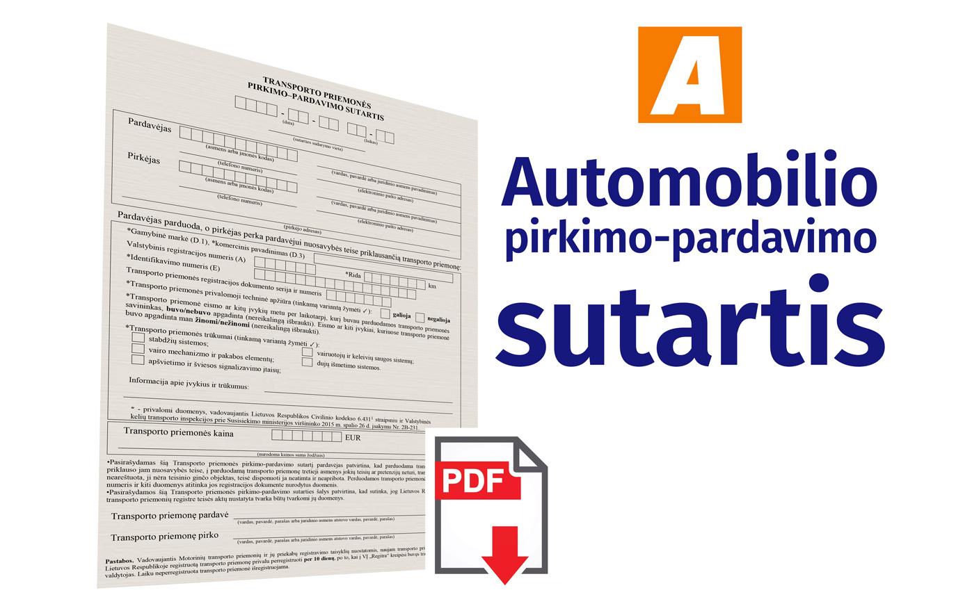Automobilio pirkimo pardavimo sutartis